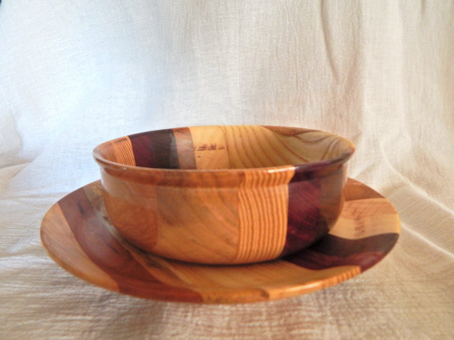Small Wood Plate and Bowl Sets - Snuggly Monkey |Small Wooden Bowls Saucers
