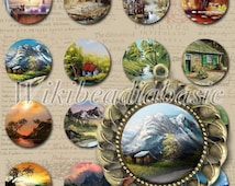 Digital Collage Sheet –Nature Landscape Scenery- 30x30mm JPG Round Printable Images Bottle Caps Glass Cabochon Pictures CS0008