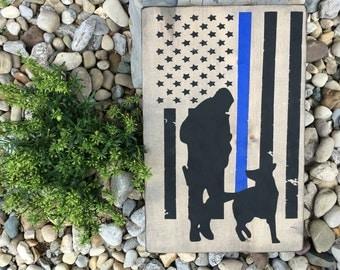 Thin Blue Line Sign ~ Rustic ~K9 Sign ~ Police Sign ~ Law Enforcement ~ Police Officer Sign ~ German Shepherd ~ Gift ~ Wooden Sign ~ K9 Unit