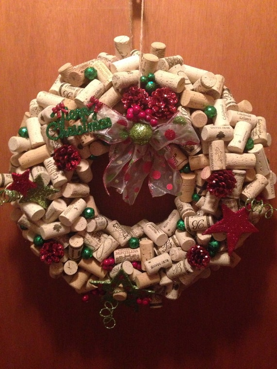 Unique holiday wreath wine cork christmas by for Unique christmas door decorations