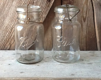 Ball Mason jars, vintage, glass lid