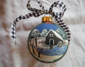 Gristmill hand painted ornament