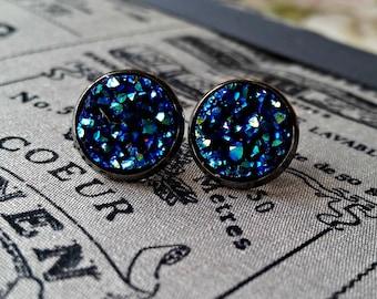 Druzy ear studs, druzy effect resin, sparkle earrings, glitter jewellery, faux moon rocks