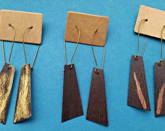 Faux Leather Earrings, Asymmetric Jewellery, metallic earrings, vegan jewelry,