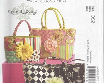 McCall's 5598 Fashion Accessories Pattern for Tote Bags, Kay Whitt Design, Uncut