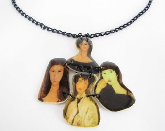 Modigliani polymer clay necklace Valentines day Present for Her Birthday gift for Her unique gift popular necklace Asymmetrical necklace