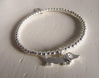 Sterling Silver Beaded Dachshund/Sausage Dog Charm Bracelet