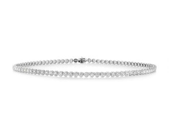 Elegant Ladys Diamond Chain Necklace, 7.48ct 14k White Gold Diamond Necklace