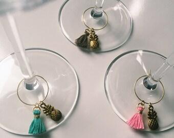 Pineapple wineglass tags (3pcs)