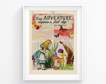 Alice In Wonderland Decorative Art Book Page Upcycled Page Print Vintage Illustration Print Wall decor Retro Poster Vintage Book print 086