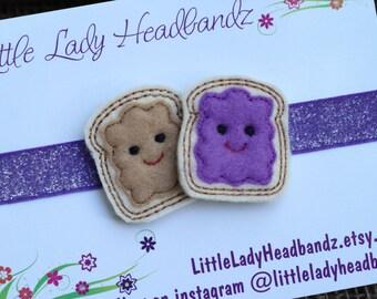 Peanut butter and jelly headband - feltie grape jelly felt baby headband toddler headband