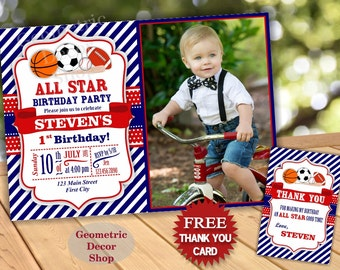 All Star Birthday Party Invitation Invite Soccer Baseball Basketball Football 1st 2nd Boy Blue Red Photo Photograph Printable First BDSP2