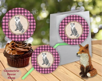 Instant Download Woodland Birthday Cupcake Toppers Centerpiece Stickers Gift Tags Pink Plaid Girl bear fox Lumberjack Baby Shower CTLJ3