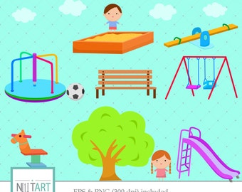 Playgroundclip art,Kids Playingclipart, vector  graphics,swings clipart, digital images