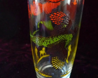 American Made USA Pheasant Stenciled Glass Beer Size 6.5 x 3 Hunting Scene Vintage 1950s