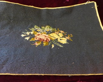 """Vintage Needlepoint  With Roses 26""""X17"""""""
