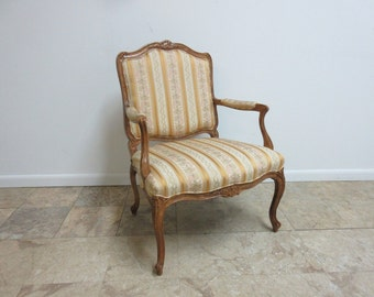 Vintage French Carved Louis XV Fireside Lounge Living Room Club Chair
