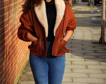 Brown Leather Jacket with Shearling Collar