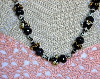 Black Lampwork Beads, Raised Flower Beads, Glass Bead Necklace, Black Bead Necklace, Dalmatian Jasper, Black Agate Beads