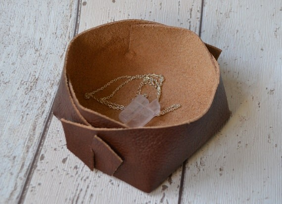 Leather Valet Tray Rustic Leather Dish Jewellery Organiser