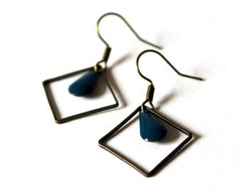 Earrings blue enamelled sequins