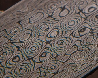 Vines and Roses Damascus Stainless Steel Billet, Patterned Welded Steel, Vines and Roses Pattern