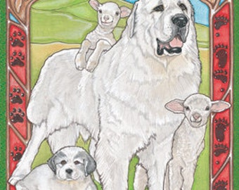 Great Pyrenees - Pipsqueak Flag: 28 x 40 inches