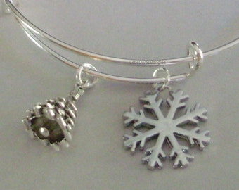 SNOWFLAKE  / Christmas Tree-  CHRISTMAS Adjustable BANGLE -Personalize Your Expandable Bracelet - Gift For Her - Under 20 Usa  W1