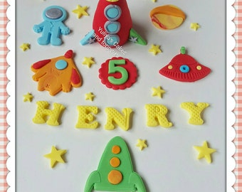 Edible rocket cake topper,space,alien,handmade birthday decoration,boys,girls,shipping from Ireland
