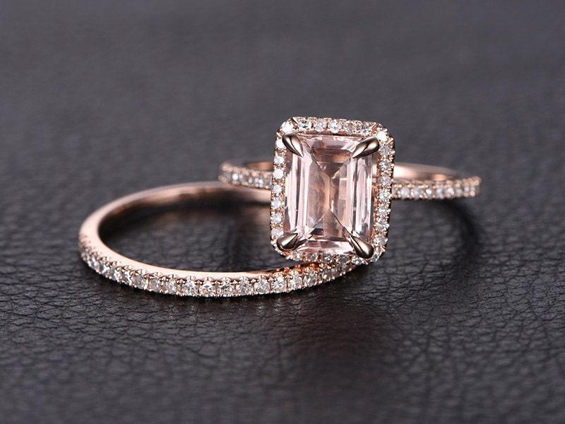 6x8mm emerald cut morganite ring set emerald cut by