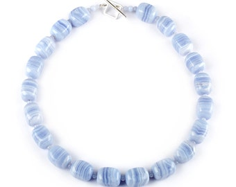 """Cirrus - 20"""" necklace of Blue Lace Agate"""