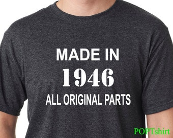 70th Birthday TShirt, Made In 1947 All Original Parts shirt, Men's 70th Birthday Shirt, Funny Shirt Shirts Tshirts, Birthday Gift for him