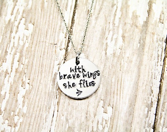 With brave wings she flies - Memorial Jewelry - Hand Stamped - Bereavement Gift - Sympathy Gift - Memorial Gift - Loss of Mom
