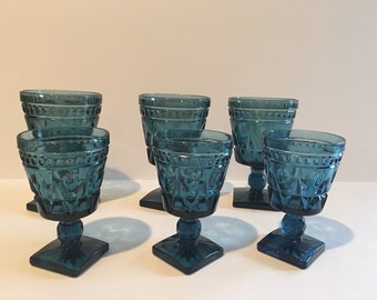 Beautiful vintage blue Indiana Glass glass wine goblets in Park Lane Colony pattern - set of 6 (3 large, 3 small)