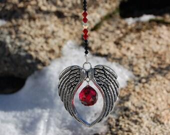 Crystal Suncatcher, ANGEL WINGS, Swarovski Ornament, Car Charm, 20mm Red Swarovski Crystal Ornament, Car Rearview Mirror Charm