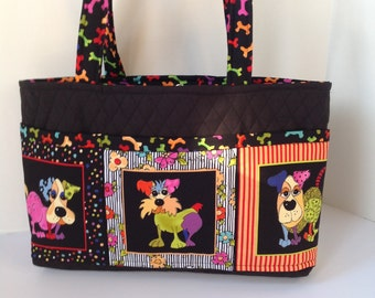 Dog Theme Quilted Tote 6 Pocket