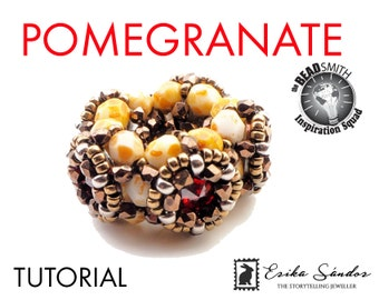POMEGRANATE beaded bead - instant dowload for the pdf instructions for a beadwork beaded bead tutorial - with true2 beads and rivolis!