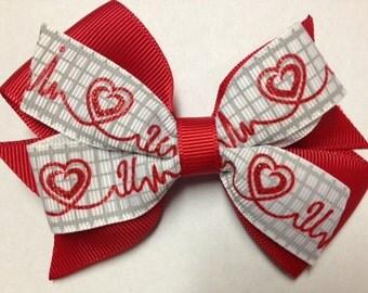 "4"" I love you heart red white hair bow clip birthday party favor pinwheel baby toddler teen Valentine's Day EKG heart monitor nurse glitter"