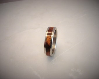 Jobillo inlay ring,exotic hardwood ring, rare hardwood ring, beautiful Jobillo ring