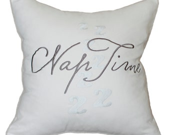 Free Shipping-Nap Time Embroidered Pillow Cover Cushion cover Decorative Pillow Throw Pillow Slip Cover Couple Gift