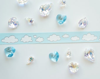 Baby blue silver foil cloud washi silver lining