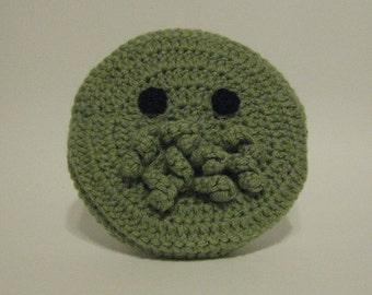 Round Cthulhu Face Crochet Bag