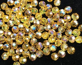 Swarovski Light Topaz AB, 6mm, Faceted Round Beads