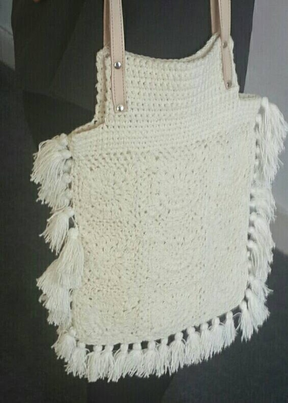 Crochet Fringe Bag : Island: Crochet Boho bag with fringe and cross over leather adjustable ...
