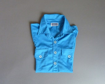 Blue vintage long sleeve shirt with collar and placket, brand campus