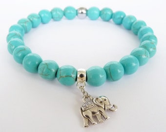 Turquoise Bracelet for women Gift sister Elephant Bracelet for mom Bracelet for her, Turquoise Jewelry Turquoise Elephant Jewelry, Mint