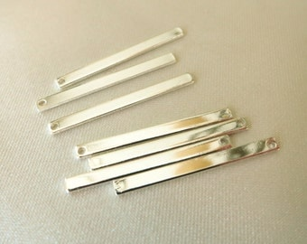 27mm x 2mm Skinny Silver Plated Bar / Pendant / Charm - 3 Each