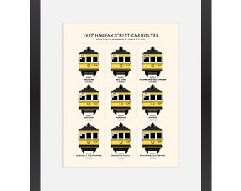 1927 Halifax Street Car Routes Giclée Print // Birney // Streetcar // Streetcars // Street Cars // Gottingen // Trolley // Train // Archival