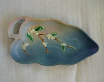 Vintage Roseville Pottery 1947 Blue Snowberry Tray Platter #1BL1-12