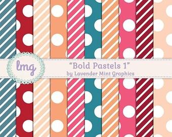 Digital Paper, Scrapbooking, Digital Background, Polka Dots, Stripes, Digital Scrapbook, Paper Pack, Colorful Paper, Commercial Use